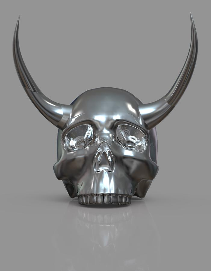 Schädel mit Hupen Abbildung 3D stock abbildung