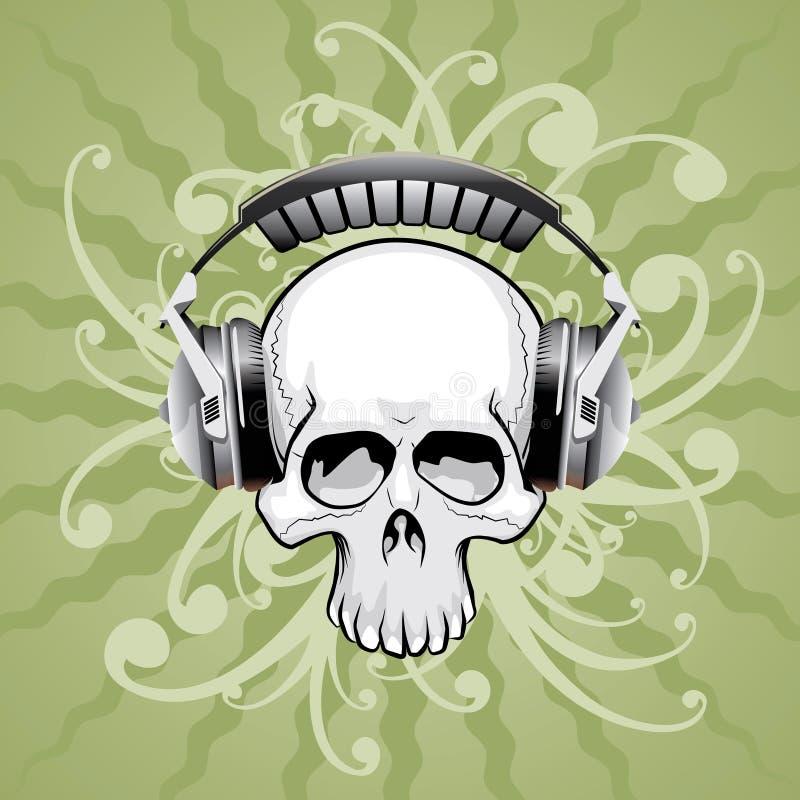 Schädel mit Kopfhörern lizenzfreie abbildung