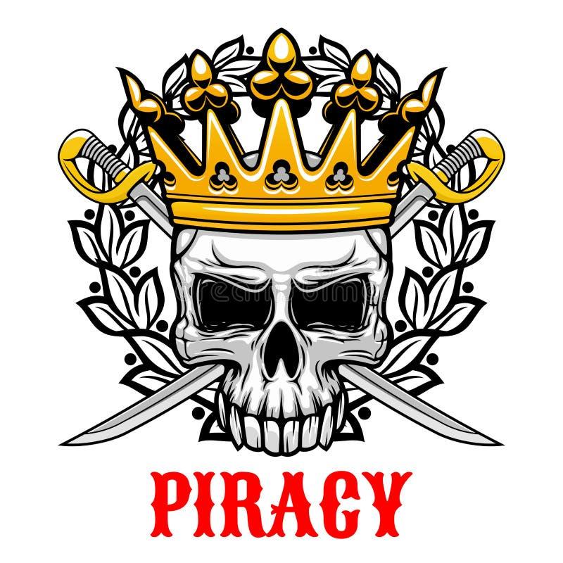 Schädel mit Krone und Säbel für Piraterie entwerfen vektor abbildung