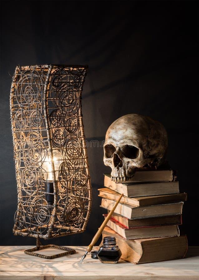 Schädel mit Lampe stockfotografie