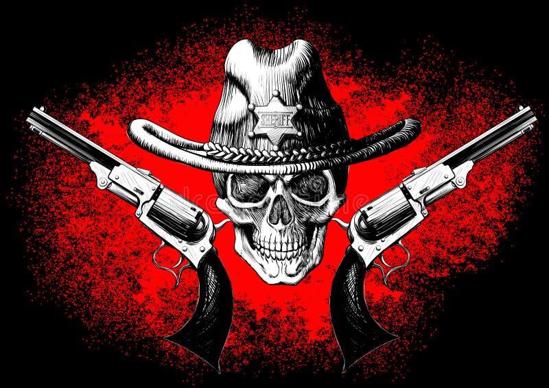 Schädel mit Revolver stock abbildung