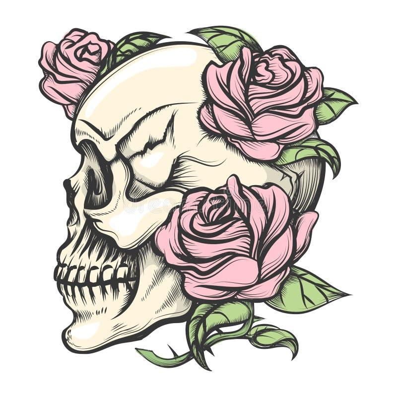 Schädel mit Rosen vektor abbildung