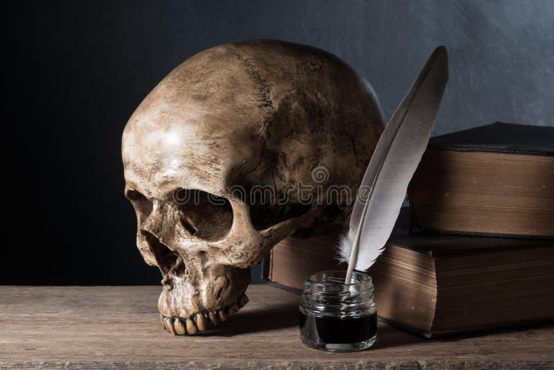 Schädel mit Tintenfaß lizenzfreies stockfoto