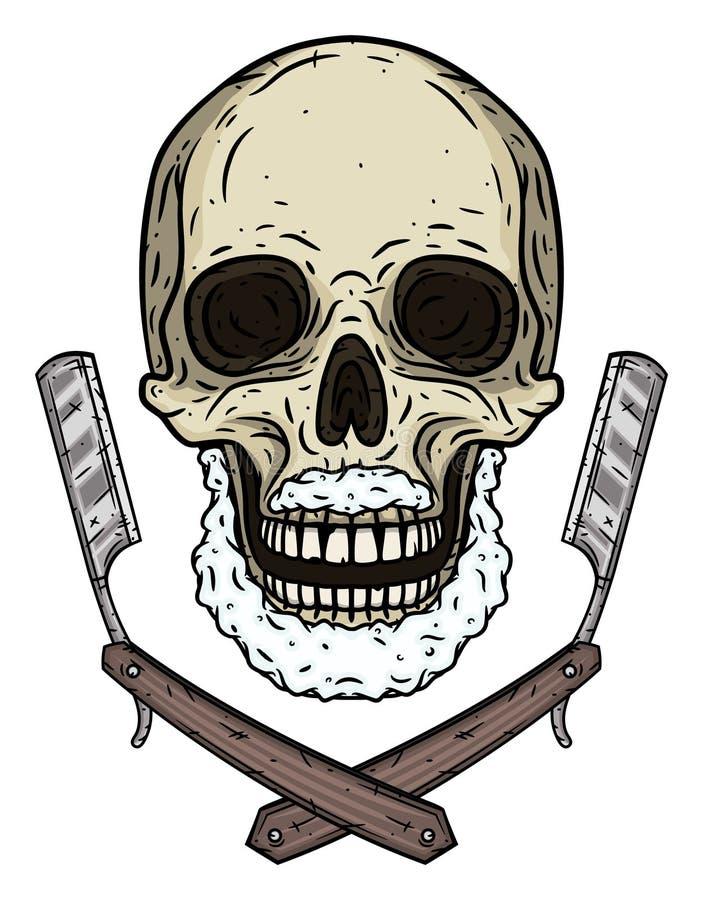 Schädel mit zwei Rasierblättern Karikaturschädel stock abbildung
