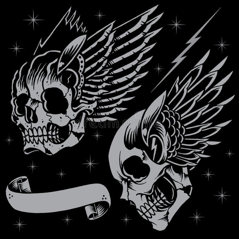 Schädel und Flügel stock abbildung