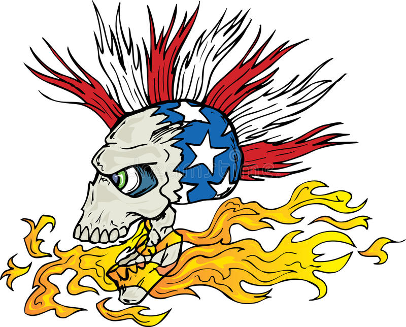 Schädel und Flammen stock abbildung