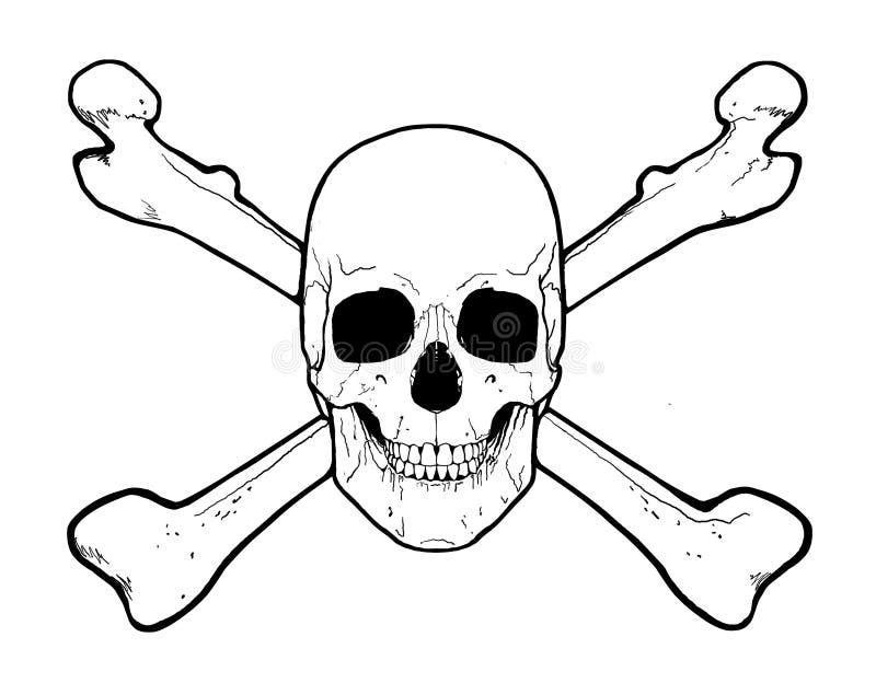 Schädel und gekreuzte Knochen lizenzfreie abbildung