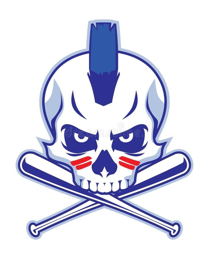 Schädel und gekreuzter Baseballschläger lizenzfreie abbildung