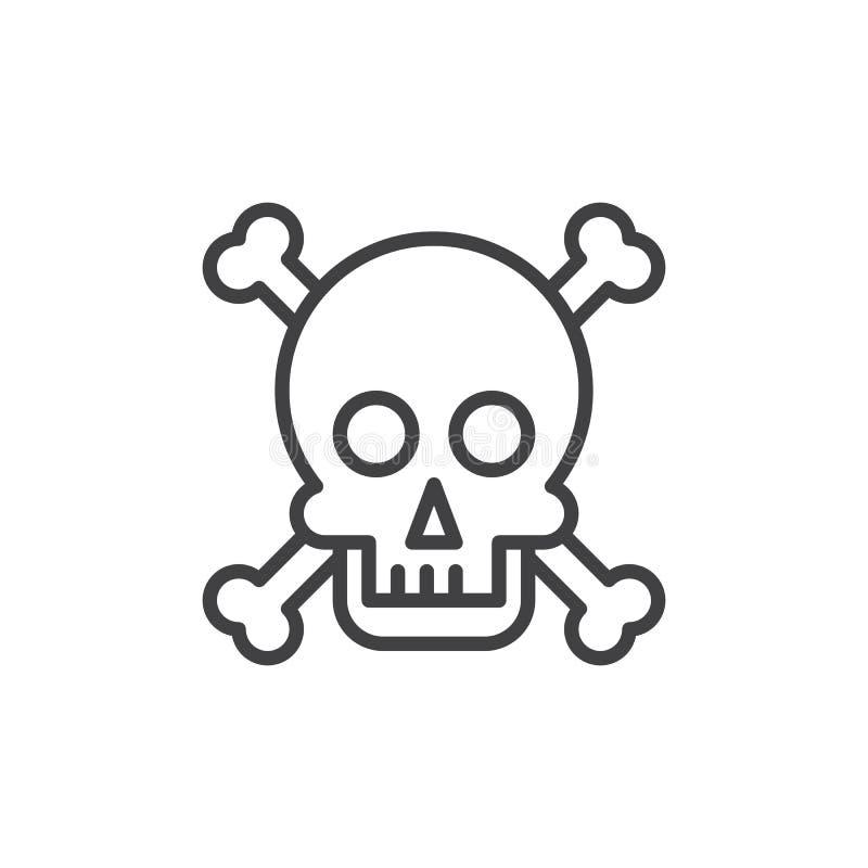 Schädel und Knochen zeichnen Ikone, Entwurfsvektorzeichen, das lineare Artpiktogramm, das auf Weiß lokalisiert wird vektor abbildung
