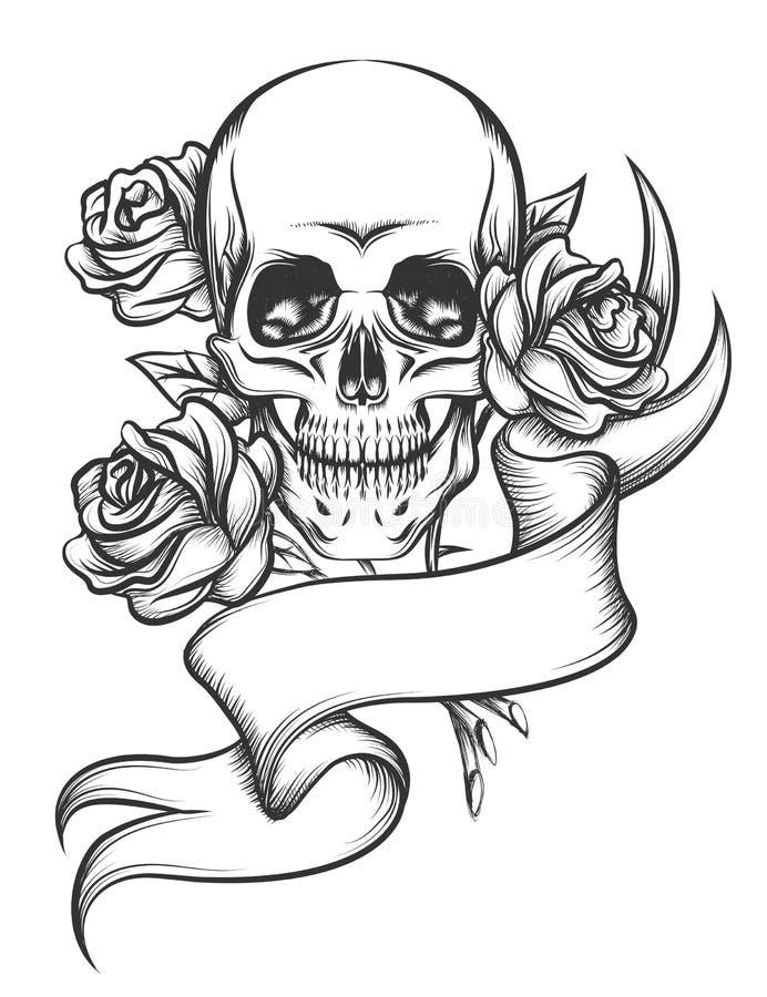 Schädel und Rosen mit Band lizenzfreie abbildung