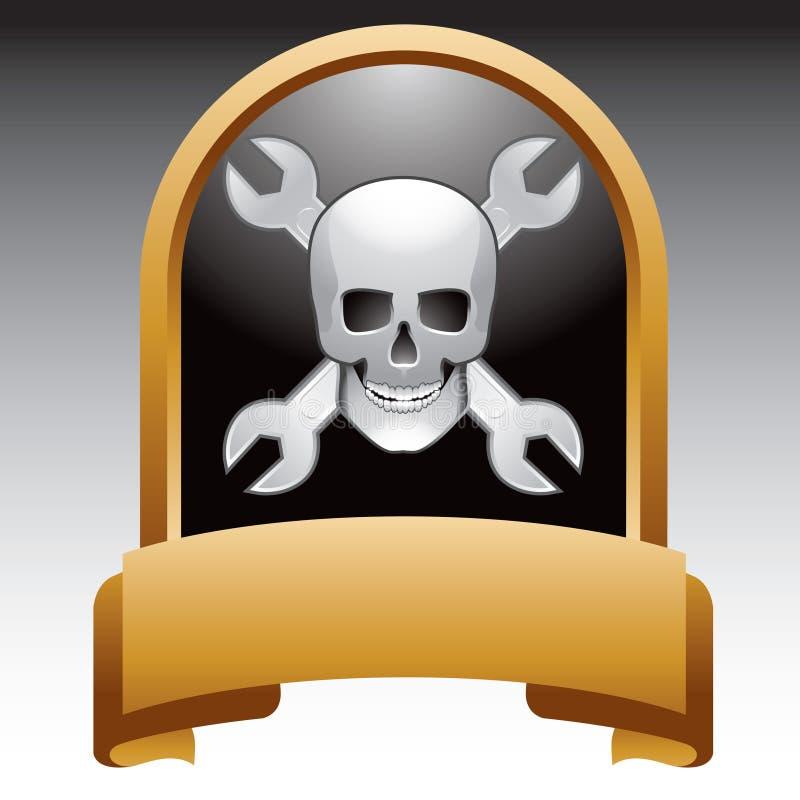 Schädel und Schlüssel in der Goldbildschirmanzeige stock abbildung