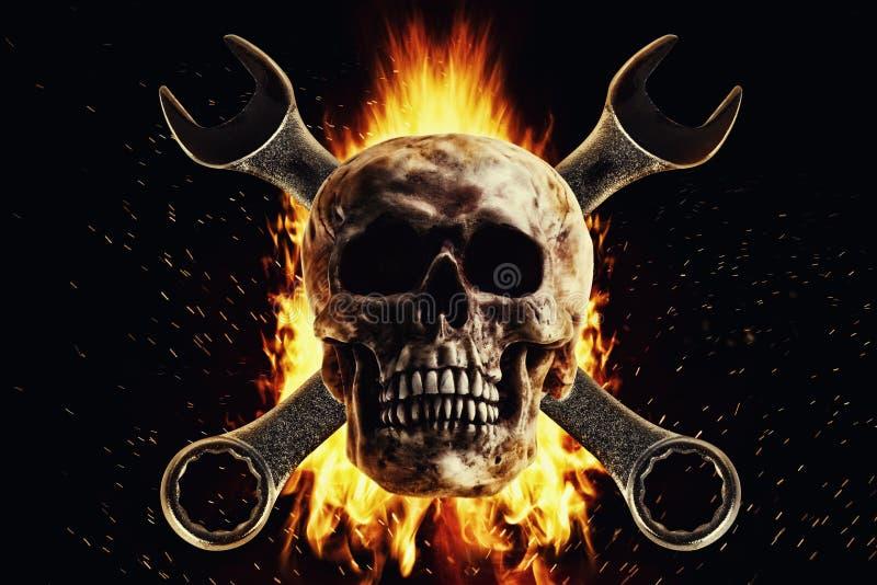 Schädel und Schlüssel im Feuer auf einem schwarzen Hintergrund lizenzfreie stockbilder