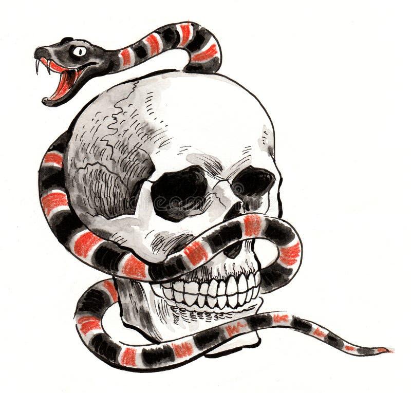 Schädel und Schlange lizenzfreie abbildung