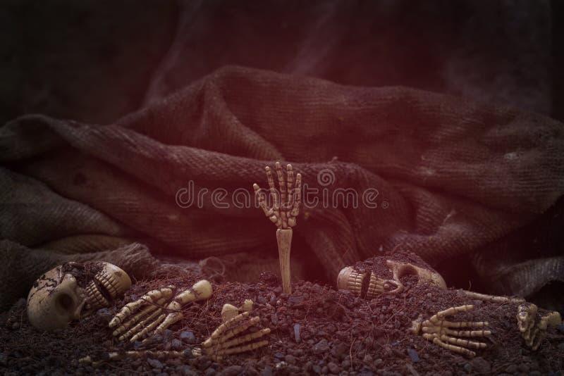 Schädel und Skelett auf Boden dunklem Hintergrund des trockenen Bodens, Konzept ha stockfotografie