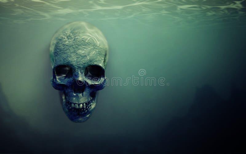 Schädel unter Wasser verschoben vektor abbildung