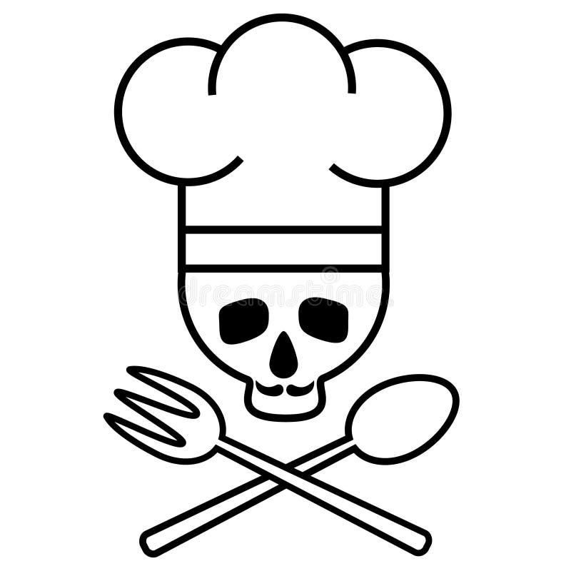 Schädelchef mit dem Schnurrbart im Hut des Chefs s mit gekreuztem Löffel und Gabel Logo, Ikone Schwarzweiss-Zeichnung Regenbogen  lizenzfreie abbildung