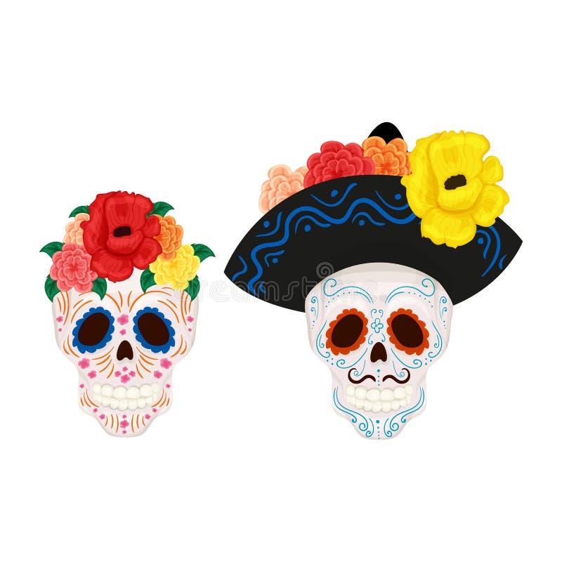 Schädelillustration der Karikatur mexikanische Zuckerfür Tag der Toten stock abbildung