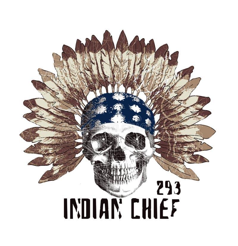 Schädelmuster in der ethnischen Art, T-Shirt Grafik stock abbildung
