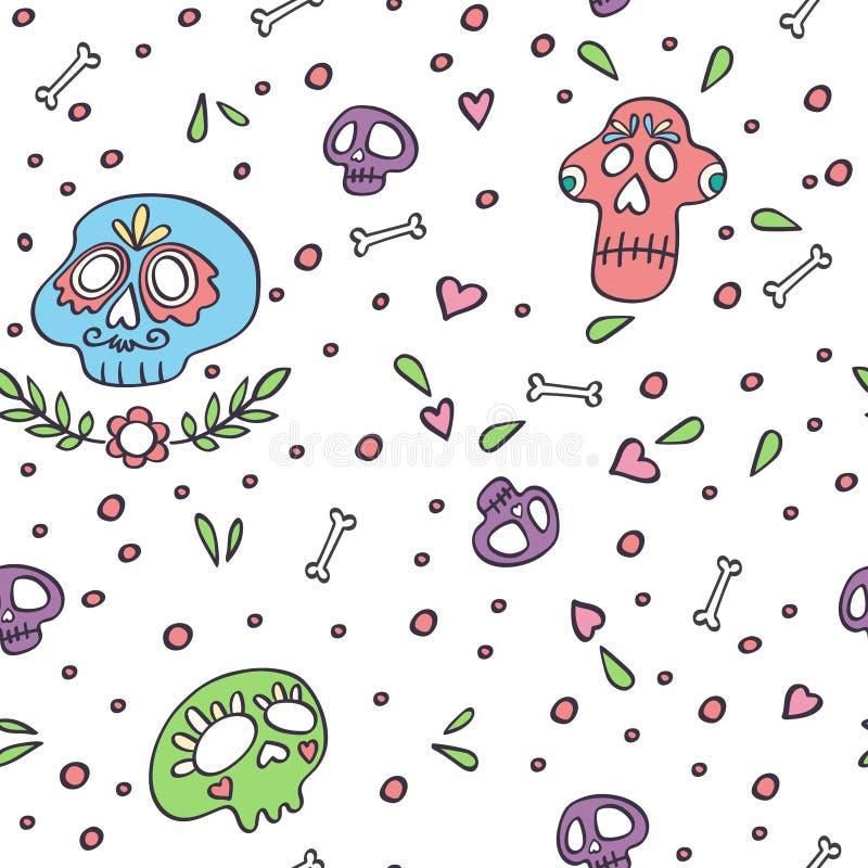 Schädelnahtloses Muster Tag des Hintergrundes des Toten Schädels Mexican Dia de los Muertos Urlaubsfliegen Blätter, Knochen, Herz stock abbildung