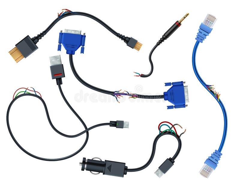Schädigende Drähte mit Steckern Trennung gebrochener Vektorsatz der elektrischen Leitungen lokalisiert auf weißem Hintergrund vektor abbildung