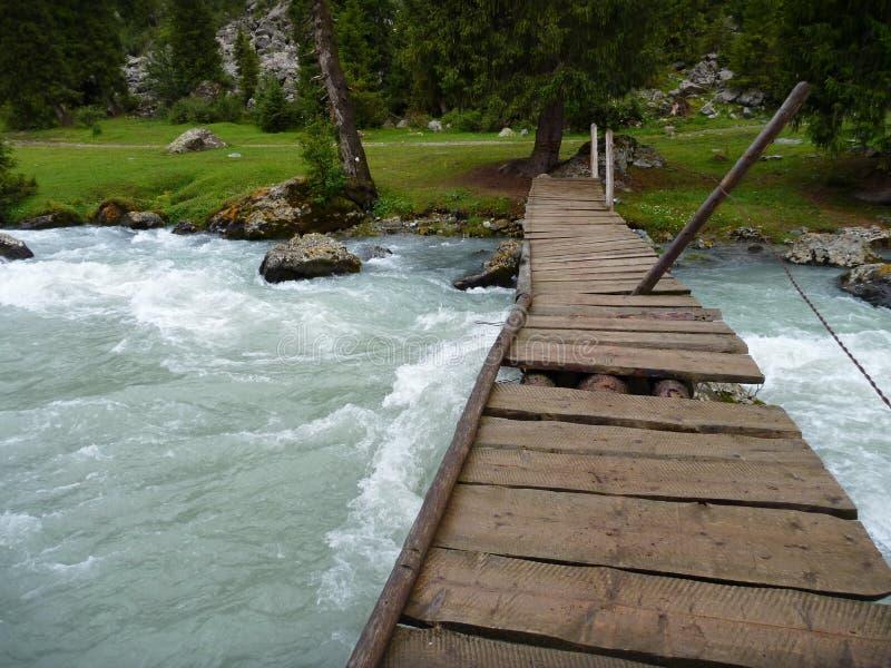 Schädigende Holzbrücke über einem überschwemmten Strom lizenzfreies stockfoto