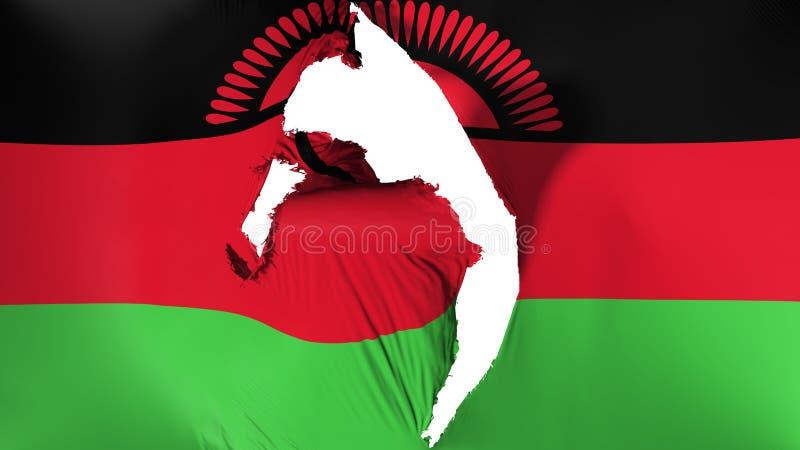 Schädigende Malawi-Flagge stock abbildung