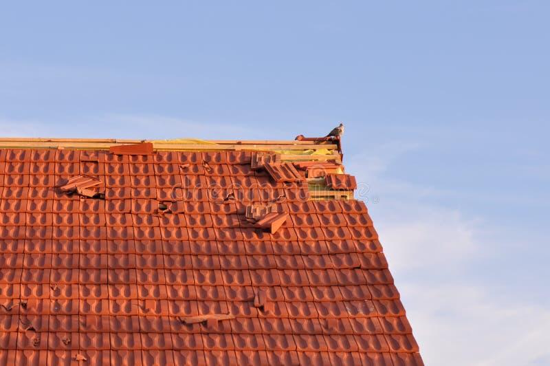 Schädigendes Dach lizenzfreie stockbilder