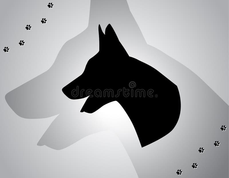 Schäferhund Silhouette lizenzfreie stockfotos