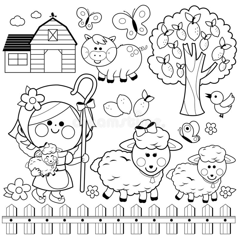 Schäferinmädchen und -tiere am Bauernhof Schwarzweiss-Malbuchseite stock abbildung