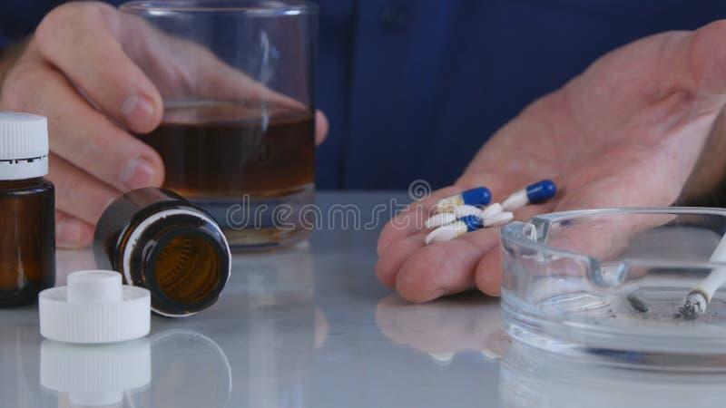 Schändliche Mann-Mähdrescher-Alkohol-Drogen und Zigaretten in einem schlechten Verhalten lizenzfreies stockbild