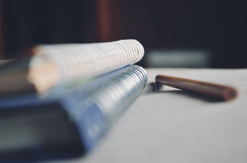 Schärfentiefe des verbindlichen Buches und des Bleistifts der Schleife auf dem Bett mit Licht vom Fenster lizenzfreie stockfotos