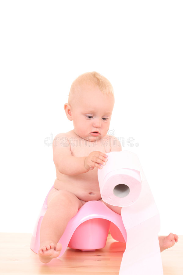 Schätzchen auf potty lizenzfreie stockfotografie