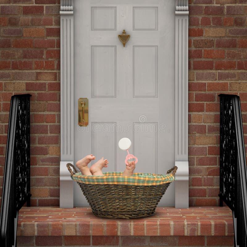 Schätzchen auf Türstufe stockbilder