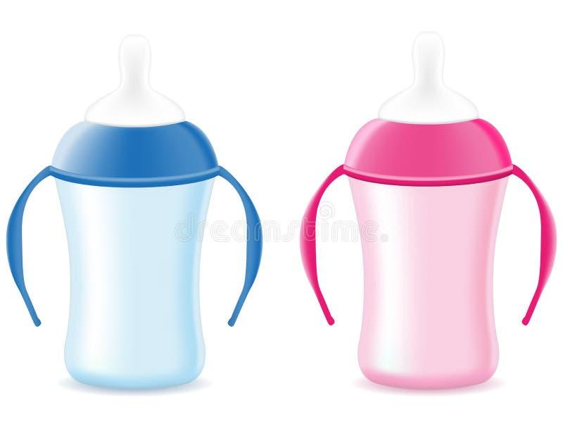 Schätzchen, das für Jungen und Mädchen mit der Flasche füttert vektor abbildung