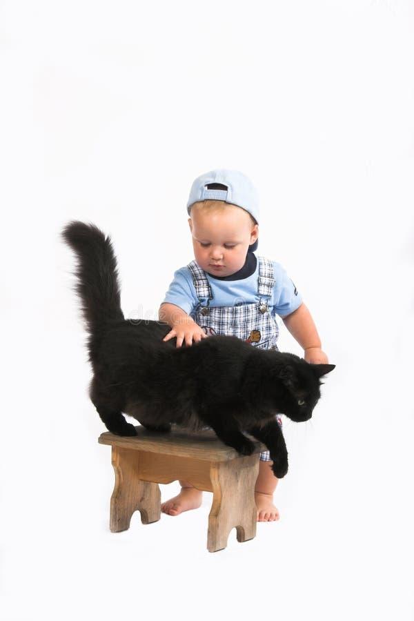 Schätzchen u. blackcat lizenzfreie stockfotos