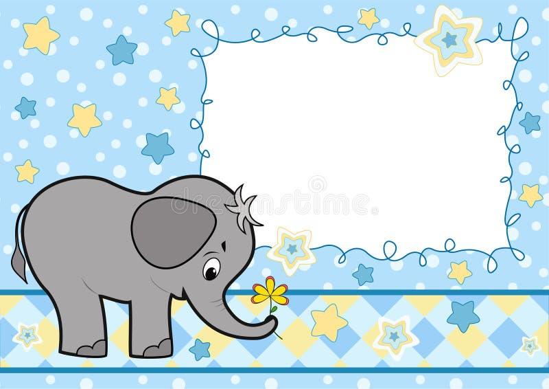 Schätzchengrußkarte mit Elefanten. lizenzfreie abbildung