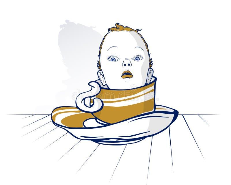 Schätzchenkindkopf auf Kaffeetasse lizenzfreie abbildung