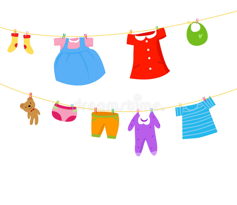 Schätzchenkleidung auf einer Wäscheleine lizenzfreie abbildung