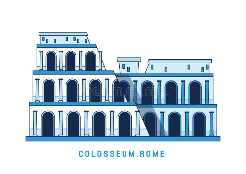 Schéma Colosseum, Rome, Italie, vue célèbre européenne, amphithéâtre, illustration de vecteur dans le style plat illustration de vecteur