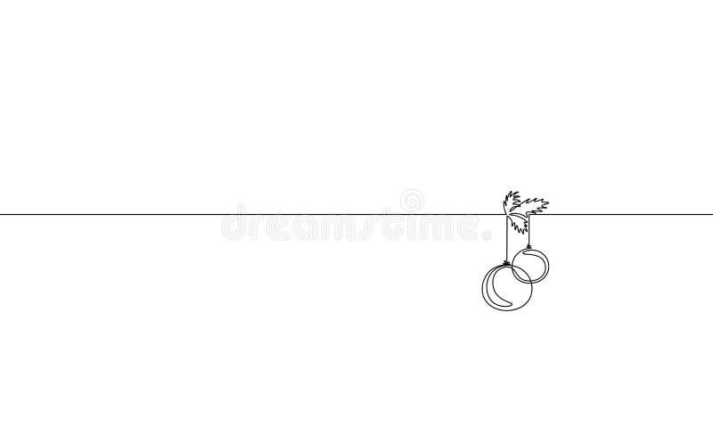 Schéma continu simple Joyeux Noël Concept de silhouette de boule d'arbre de Noël de décoration de carte de voeux de vacances illustration stock