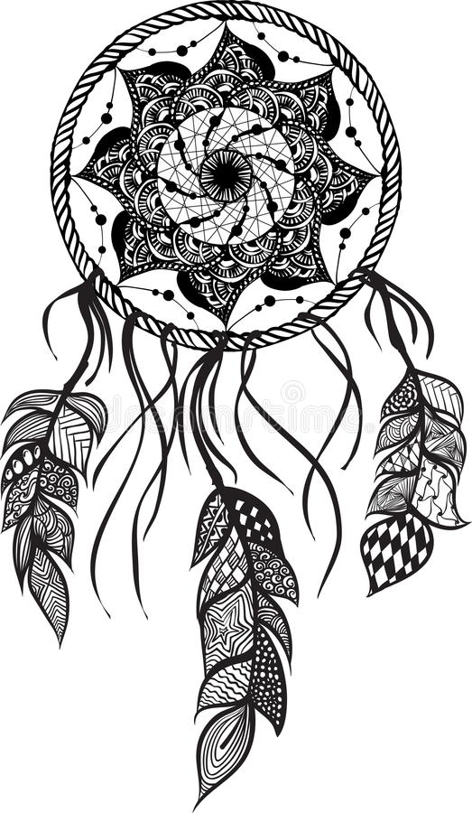 Schéma d'un dreamcatcher de mandala illustration stock