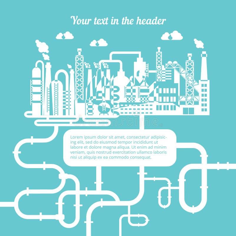 Schéma d'une raffinerie produisant le gaz naturel illustration libre de droits