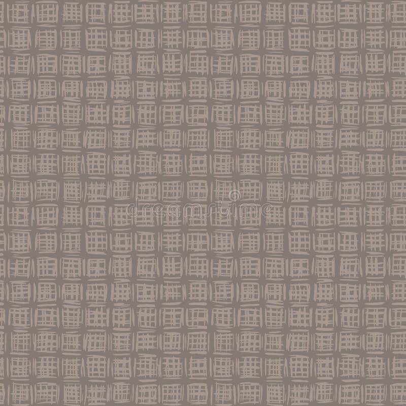 Schéma de bande de grille brisée à la main Dessin de ligne moderne dans des tons bruns, gris, écru et neutres Tout l'impression s illustration libre de droits