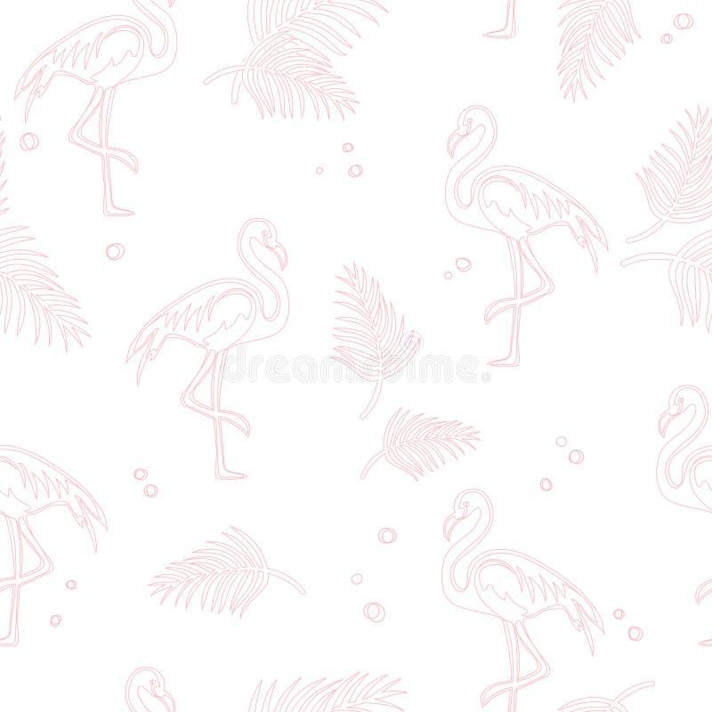 Schéma de flamant rose sur fond blanc avec points illustration libre de droits