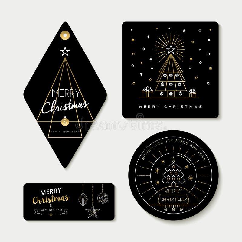 Schéma or et le calibre d'étiquette ont placé pour Noël illustration de vecteur