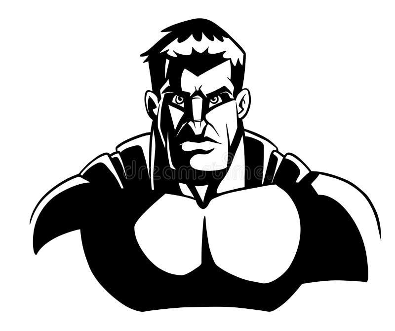 Schéma foncé portrait de super héros illustration stock
