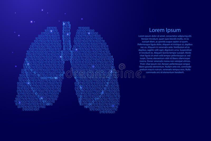 Schéma humain d'abrégé sur organe respiratoire d'anatomie de poumons de le bleu et code numérique binaire de zéros avec des étoil illustration de vecteur