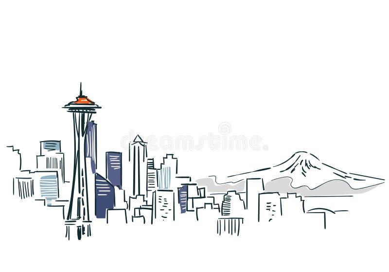 Schéma illustration de vecteur de croquis de ville de Seattle Etats-Unis illustration libre de droits