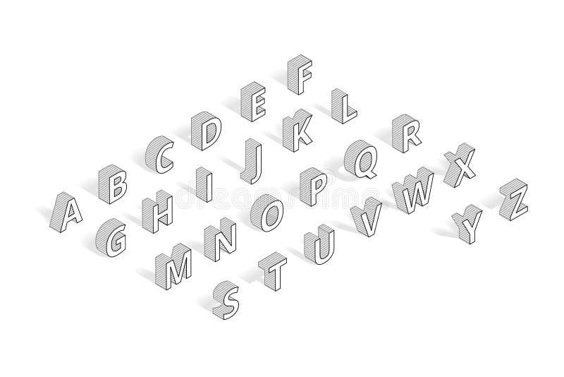 Schéma isométrique alphabet de police de vecteur illustration libre de droits