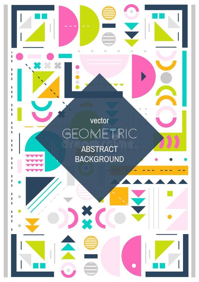 Schéma moderne fond Fond coloré géométrique abstrait Conception de couverture Taille A4 illustration de vecteur